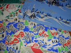 vintage christmas gift wrap wrapping paper lot 17 styles old 3 DAY AUCTION!!!! (12/14/2011)