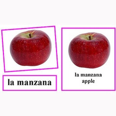 Spanish Language Fruits and Vegetables, three part cards
