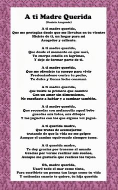 Mothers day poems in spanish