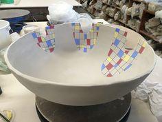 When life hands you cracks, you make art! #mondrian #largebowl #ceramics #clay #art