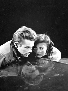 James Dean and Natalie Wood in Rebel Without a Cause. Directed by Nicholas Ray, movie released in 1955.