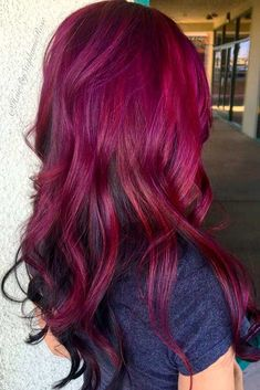 21 Loveliest Magenta Hair Color Ideas A magenta hair color allows you to show everyone how creative and bold you are. Amaze all your friends with your new vivid and cool style. Magenta Hair Colors, Red Purple Hair, Burgundy Hair Ombre, Purple Lilac, Beautiful Hair Color, Beautiful Babies, Rainbow Hair, Love Hair, Dyed Hair