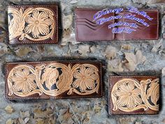 Hand Tooled Mens bi-fold Wallet, Western Floral Wallet by DannyCollinsLeather on Etsy