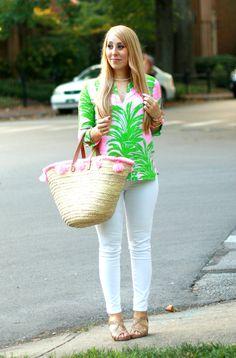 Pineapple Print + Pink Tassel Basket | Classy Sassy