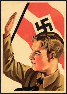 Germany, Hitler Youth Propaganda, 1934 Flag and Youth.