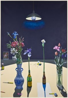 Paul Wonner Dutch Still Life with Flowers and a Box of Tacks under a light, 1983  acrylic on canvas, 72 x 50 inches