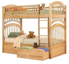 Windsor Bunk Bed Twin Over Twin w 2 Flat Drawers in a Natural Maple