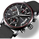 Watches Mens Sports Chronograph Waterproof Analog Quartz Watch with Black Leather Band Fashion Watch Watches For Men, Men's Watches, Quartz Watch, Fashion Watches, Watch Bands, Chronograph, Black Leather, Accessories, Clothes