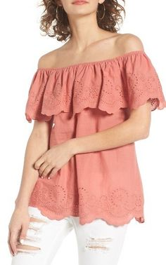 Summer style, summer trends, cute, pink, outfits, great style WOMEN'S BP. EYELET RUFFLE OFF THE SHOULDER TOP (aff link)