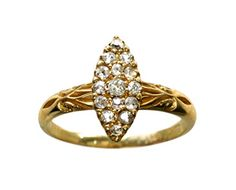 1880s Marquise Shaped Diamond Cluster Ring