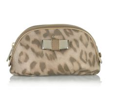 b774816695 Chloé cosmetics pouch  leopard-print leather