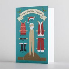 "Cut out and dress a Father Christmas Peg in his festive wardrobe!•Printed on heavy weight FSC approved paper stock•Message inside reads ""With Best Wishes for Christmas and the New Year""•120mm x 170mm (folded size)•Printed in the UK•Cellophane wrapped with a brown craft envelope•Code CCP10"