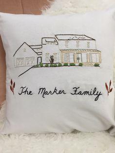 Custom Home Portrait. Home Pillow Cover. Address Decor. Housewarming. New Home. Custom House Art. Anniversary Gift. Christmas for Parents.