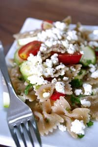 Tangy feta and fresh veggies make for tasty pasta salad accents. And on whole wheat bowties? This recipe rocks!
