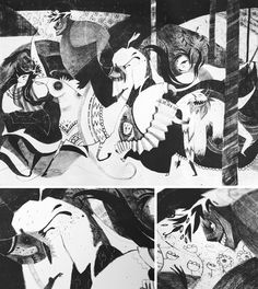 Paulina Kozicka's work reminds me of Pablo Picasso. This piece makes me think of one he made during the Spanish Civil War called Guernica. It feels very cluttered and upset with something. Guernica, Amazing Drawings, Creative Industries, Pablo Picasso, Illustrations Posters, Illustration Art, Behance, Black And White, Fictional Characters
