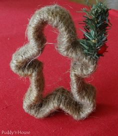 DIY Christmas Decorations - Jute Twine Wrapped Cookie Cutter