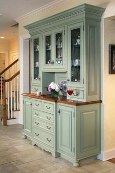 Built In Hutch Formal Dining Room Using Cabinetry From Kitchen