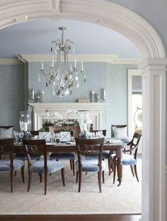 traditional dining room by Cindy Rinfret  all different blues, even the ceiling