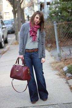 Wide leg jeans + Stripes + Scarf