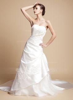 Corte A/Princesa Escote corazón Tren real Satén Tul Vestido de novia con Volantes Encaje.