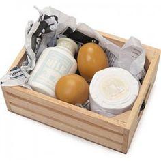 caja de huevos y queso de madera para cocinitas y supermercados de juguete