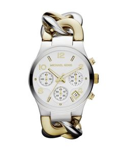 MICHAEL Michael Kors  Mid-Size Golden/Silver-Color Stainless Steel Link Watch.