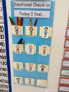 Social and Emotional Development As the child enters the room they may check in by placing an indicator on how they feel that morning. They may also do an emotional check in at the end of their day as well. SED The toddler expresses and range of emotions. Classroom Behavior, Classroom Displays, Kindergarten Classroom, Future Classroom, Classroom Organization, Kindergarten Calendar, Teaching Social Skills, Primary Teaching, Teaching Activities