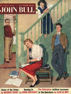 John Bull Magazine Cover, UK, 1950s Uk Magazines, Vintage Magazines, Advertising Archives, The Searchers, Family Humor, 1940s, Fine Art, Wall Art, Drawings