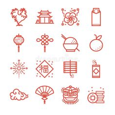 chinese new year line icon set. included the icons as rooster lion orange money red envelope cracker and more. Design Ios, Icon Design, Flat Design Icons, Graphic Design, Chinese New Year Design, Chinese New Year Card, Chinese Patterns, Japanese Patterns, Banner Design Inspiration