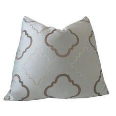Decorative Designer Pillow Cover-22x22-Steel Blue and Chocolate Trellis