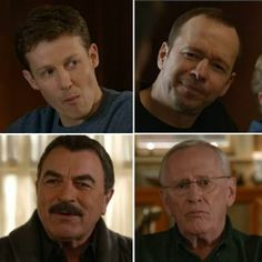 Reagan Males - top: Will Estes as Jamie, Donnie Wahlberg as Danny, both sons of Frank. Bottom: Tom Selleck as Frank (father), and Len Cariou (Frank's father).