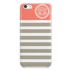Tangerine and gray stripes ($20) ❤ liked on Polyvore featuring accessories, tech accessories and phone