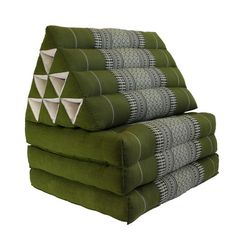 THAI TRIANGLE PILLOW Fold Out Organic Kapok 100% Day BedCushion 10 Hole 3 Fold (Sage)