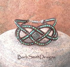 Turquoise Silver Leather Wrap Beaded Bracelet - The Loopy One Blinged Out in…