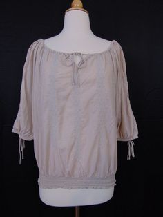 L.O.G.G. for H&M Peasant Top Light Beige 3/4 Sleeves Size 10 #1098 #HM #PeasantTop #Casual
