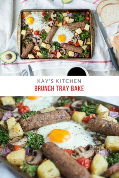 Brunch Tray Bake Breakfast Tray, Breakfast Potatoes, Breakfast Ideas, Baked Eggs, Baked Potato, Cherry Tomatoes, Tray Bakes, Kale, Sausage