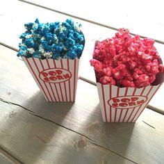 Popcorn i alle regnbuens farver Popcorn, Raspberry, Sweets, Homemade, Fruit, Halloween, Drinks, Party, Hygge