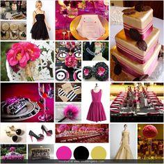 fuchsia, black, and gold wedding