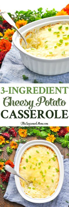 Aunt Bee's 3-Ingredient Cheesy Potato Casserole is a prep-ahead, easy side dish! Potato Recipes | 5 Ingredients or Less Recipes | Thanksgiving Dinner | Side Dishes #sides #sidedish #potatoes