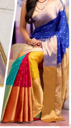 Uppada Multi Color Prills Jamdhani Silk Saree with Gold border by UppadaPattu on Etsy