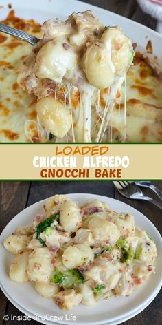 Loaded Chicken Alfredo Gnocchi Bake - a delicious combination of chicken Alfredo, cheese, bacon, and broccoli makes this comfort food dinner disappear in a hurry! Easy recipe to make for busy nights. and drinks chicken Loaded Chicken Alfredo Gnocchi Bake Pollo Alfredo, Chicken Alfredo, Fettucini Alfredo Bake, Baked Gnocchi, Gnocchi Recipes, Chicken Gnocchi, Easy Gnocchi Recipe, Gnocchi Soup, Baked Chicken