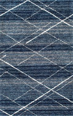 Muted yet bold! This is Rugs USA's Snowpeak KZ07 Hand Tufted Diamond Trellis Shag Rug!