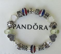 """Red, White & Blue ~ Authentic Pandora Sterling Silver Bracelet, Receipt, Gift Box, 22 European Beads/Charms  """"FREE Shipping, FREE Grab-Bag"""""""