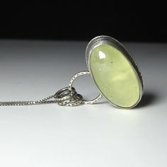 fresh lime green prehnite pendant charm necklace by sarawestermark
