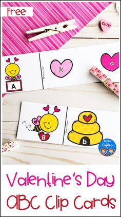 Valentine's Day ABC Clip Cards - This alphabet preschool valentine activity is a fun hands-on way to practice uppercase and lowercas - Valentine Activities, Kids Learning Activities, Alphabet Activities, Valentine's Day Letter, Preschool Crafts, Preschool Ideas, Letter Matching, Valentine's Day Crafts For Kids, Holidays With Kids