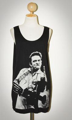 Johnny Cash Black Singlet Tank Top Sleeveless Indie Rock T-Shirt Size M