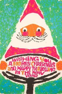 Vintage / Retro Christmas card..Santa takes the wheel - Jesus is the co-pilot