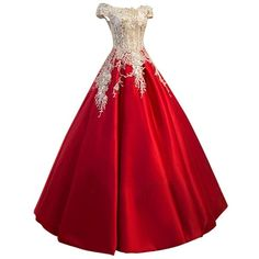 Meilishuo Women's Off the Shoulder Applqiue Quinceanera Ball Gowns... ($173) ❤ liked on Polyvore featuring dresses, evening dresses, lace prom dresses, red off the shoulder dress, prom dresses and red dress