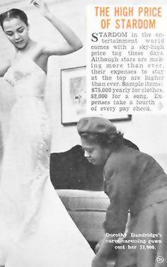 Zelda Wynn Valdes tightens a seam on Dorothy Dandridge's dress, Hue, 1954