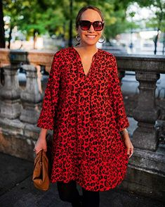 The Drop Loose-Fit Fiery Orange Animal Print Tiered Dress Viscose Fabric, Animal Print Dresses, Tiered Dress, Smock Dress, My Wardrobe, Loose Fit, Latest Fashion Trends, Drop, Night Out